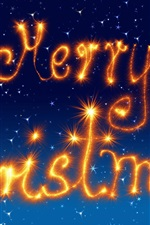 Preview iPhone wallpaper Merry Christmas, fireworks, sparklers, blue background