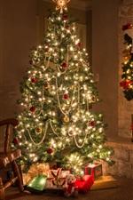 Feliz Natal, casa, lareira, árvore, presentes, decorações