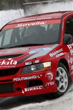 Preview iPhone wallpaper Mitsubishi Lancer Evolution red car, racing, snow
