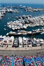 Preview iPhone wallpaper Monaco, Monte-Carlo, city, Formula 1, racing, yachts, boats, dock