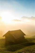 Preview iPhone wallpaper Morning, house, fog, grass, sunrise