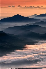 Preview iPhone wallpaper Morning, mountains, fog, sunrise, clouds