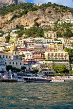 Preview iPhone wallpaper Mountain, slope, houses, bay, yacht, Salerno, Positano, Italy