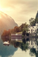 Preview iPhone wallpaper Mountains, lake, swans, houses, trees, sunrise, clouds, dawn