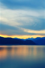 Preview iPhone wallpaper Mountains, lake, water reflection, clouds, sky, sunset