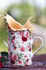 Preview iPhone wallpaper Mug, coffee splash, rose
