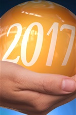 Preview iPhone wallpaper New Year 2017, yellow ball on hand