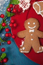 Preview iPhone wallpaper New Year, needles twigs, berries, cookies, Christmas theme