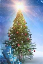 New Year theme, Christmas tree, gifts, snow, sunset, sun rays