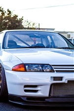 Preview iPhone wallpaper Nissan GTR R32 Skyline white classic car