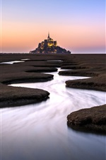 Preview iPhone wallpaper Normandie, Mont Saint-Michel, France, river, fence, dusk