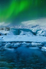 Preview iPhone wallpaper Northern lights, Iceland, glacial, frozen, snow, night, sea