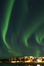 Preview iPhone wallpaper Northern lights, Norway, city night, river, houses, stars