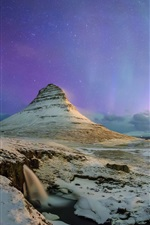 Preview iPhone wallpaper Northern lights, stars, sky, night, Kirkjufell mountain, Iceland