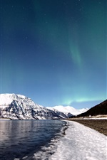 Preview iPhone wallpaper Norway, winter, snow, mountains, river, sky, northern lights, stars