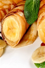 Pancakes, banana, mint, delicious food