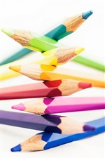 Preview iPhone wallpaper Pencils, rainbow colors, white background