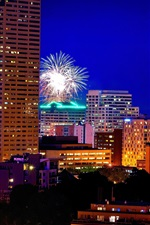 Preview iPhone wallpaper Portland, Oregon, fireworks, city night, lights, buildings, USA