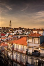 Portugal, city, houses, dusk