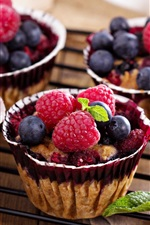 Raspberry, blueberries, cakes