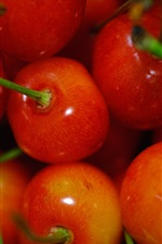 Preview iPhone wallpaper Red cherries, fresh fruit