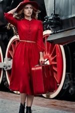 Preview iPhone wallpaper Red dress girl, hat, suitcase, tours, train