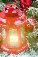 Preview iPhone wallpaper Red lantern, gift, twigs, snow, Christmas theme