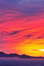 Preview iPhone wallpaper Red sky, sunset, mountains, fog