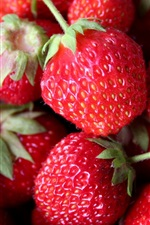 Preview iPhone wallpaper Red strawberries, juicy fruits