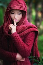 Preview iPhone wallpaper Red sweater dress Asian girl