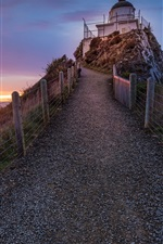 Preview iPhone wallpaper Road, fence, lighthouse, sunset, sea