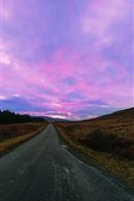 Estrada, roxo, céu, nuvens, pôr do sol