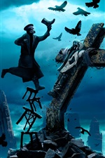 Preview iPhone wallpaper Romantically Apocalyptic, crows, ruins, crucifixion, captain, fantasy art