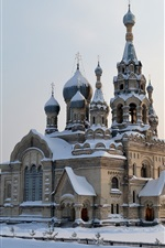 Preview iPhone wallpaper Russia, cold winter, snow, temple, Church of the Savior