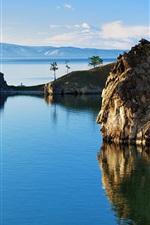 Rússia natureza paisagem, Baikal, lago, rochas
