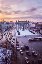 Saint Petersburg, Russia, square, cars, traffic, winter, sunset
