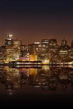 미리보기 iPhone 배경 화면 샌프란시스코 아름다운 도시 밤, 고층 빌딩, 조명, 물 반사