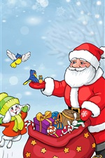 Preview iPhone wallpaper Santa Claus, bunny, birds, bag, gifts, trees, snow, winter, Christmas theme art