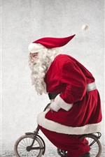 Preview iPhone wallpaper Santa Claus riding a small bike, humor, red coat, glasses, Christmas theme