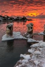 Sea, sunset, clouds, winter, ice, frozen