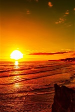 Sea, sunset, red sky, coast, dusk
