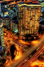Preview iPhone wallpaper Seoul, Korea, city, skyscrapers, roads, lights, night