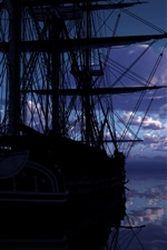Ship, sea, clouds, water reflection, dawn