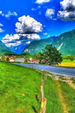 Preview iPhone wallpaper Slovenia, mountains, clouds, road, fence, grass, houses, HDR style