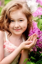 Preview iPhone wallpaper Smile girl, child, flowers
