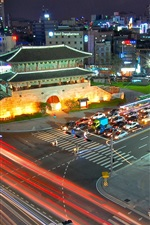 Preview iPhone wallpaper South Korea Seoul South Gate, night, road, traffic, lights