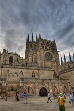 Preview iPhone wallpaper Spain, Burgos, cathedral, tower, people, clouds
