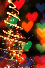 Preview iPhone wallpaper Spiral light Christmas trees, beautiful picture
