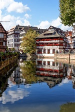 Preview iPhone wallpaper Strasbourg, France, houses, river, trees