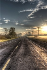 Preview iPhone wallpaper Sunrise road, trees, power lines